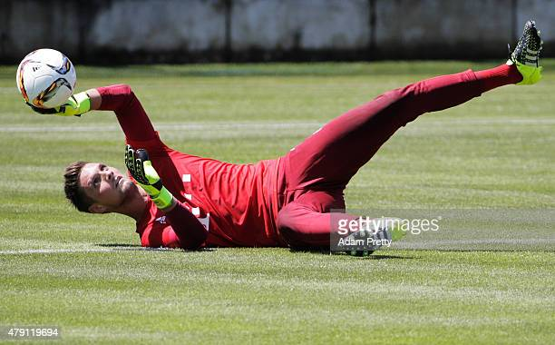 Sven Ulreich of FC Bayern in action during training at the FC Bayern Muenchen training grounds on July 1 2015 in Munich Germany
