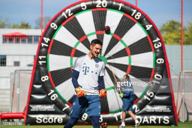 Sven Ulreich of FC Bayern Muenchen gestures during a soccer dart challenge as part of a training session at Saebener Strasse training ground on April...