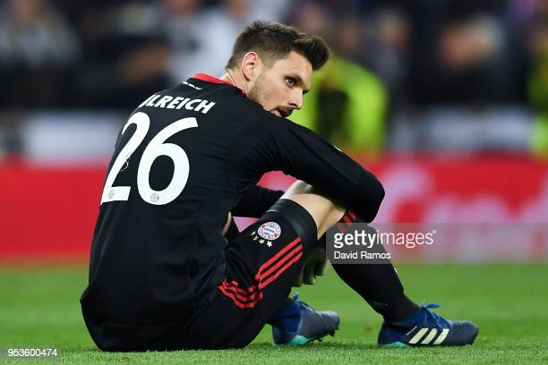 Sven Ulreich of FC Bayern Muenchen looks dejected as they fall to reach the final after the UEFA Champions League Semi Final Second Leg match between...
