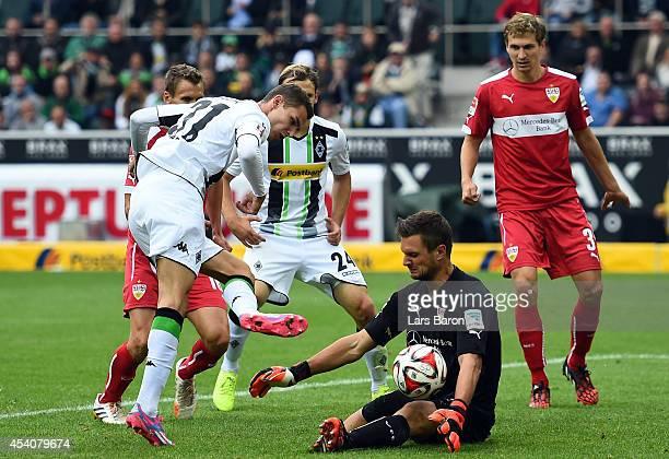 Sven Ulreich of Stuttgart saves a shot of Branimir Hrgota of Moenchengladbach during the Bundesliga match between Borussia Moenchengladbach and VfB...