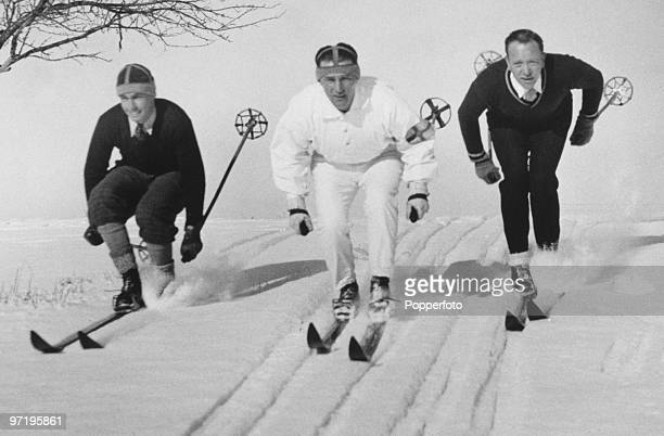 Sven Utterstrom at the Winter Olympic Games at Lake Placid New York USA February 1932 Utterstrom won the gold medal in the 18 km cross country skiing...