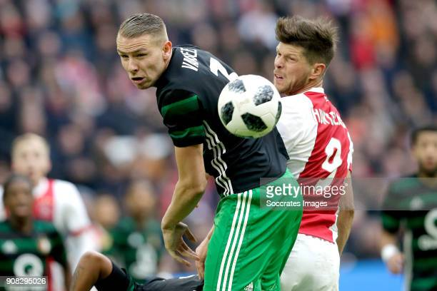 Sven van Beek of Feyenoord Klaas Jan Huntelaar of Ajax during the Dutch Eredivisie match between Ajax v Feyenoord at the Johan Cruijff Arena on...