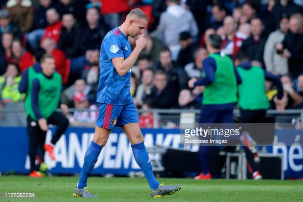 Sven van Beek of Feyenoord leaves the pitch after a red card during the Dutch Eredivisie match between PSV v Feyenoord at the Philips Stadium on...