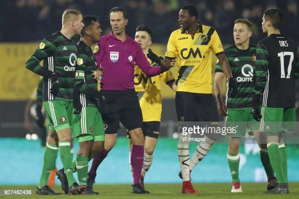 Sven van Beek of Feyenoord Renato Tapia of Feyenoord referee Bas Nijhuis Manu Garcia of NAC Breda Sadiq Umar of NAC Breda Jens Toornstra of Feyenoord...