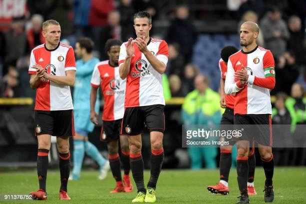 Sven van Beek of Feyenoord Robin van Persie of Feyenoord Karim El Ahmadi of Feyenoord celebrates the victory during the Dutch Eredivisie match...