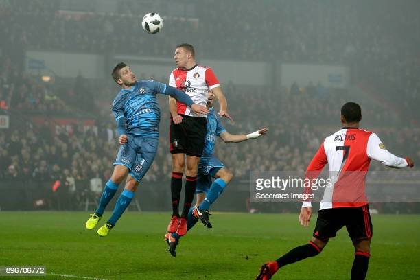 Sven van Beek of Feyenoord scores the second goal to make it 2-0 during the Dutch KNVB Beker match between Feyenoord v Heracles Almelo at the Stadium...