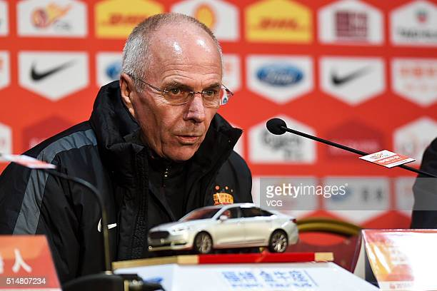 SvenGoran Eriksson head coach of Shanghai SIPG attends a press conference after the Chinese Football Association Super League match between Shanghai...