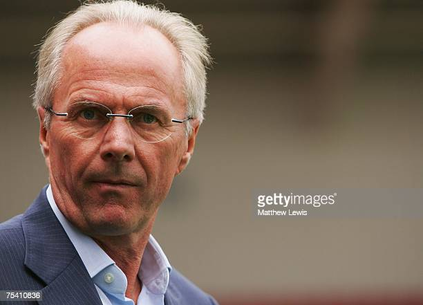 Sven-Goran Eriksson, manager of Manchester City looks on during the Pre-Season Friendly match between Doncaster Rovers and Manchester City at the...