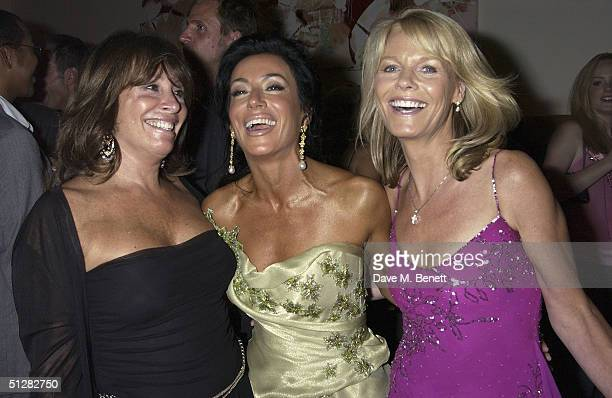 SvenGoran Eriksson's exgirlfriend Nancy Dell'Olio with Barbara Dein and guest at her belated birthday party at Morton's on September 9 2004 in London...