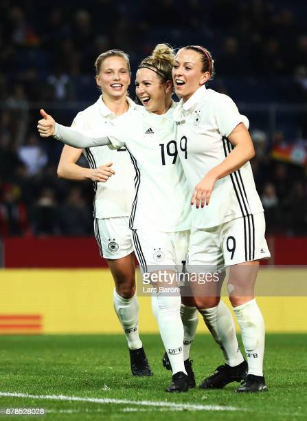Svenja Huth of Germany celebrates afer scoring the second goal during the Germany v France Women's International Friendly match at Schueco Arena on...