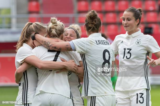 Svenja Huth of Germany celebrates after scoring his team`s first goal during the 2019 FIFA women's World Championship qualifier match between Germany...