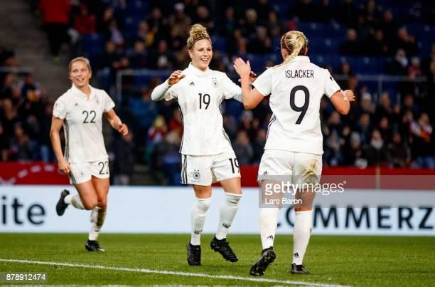 Svenja Huth of Germany celebrates after winning the Germany v France Women's International Friendly match at Schueco Arena on November 24 2017 in...