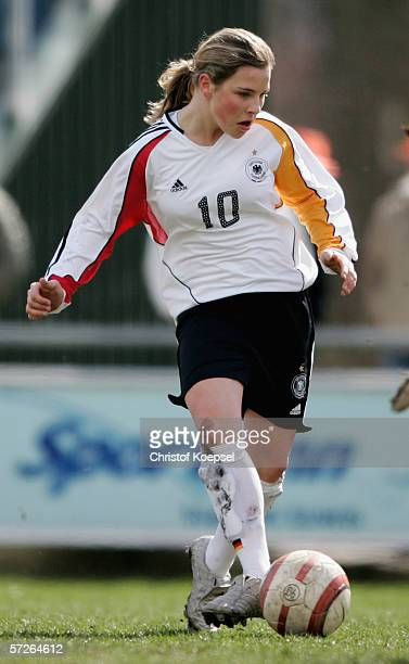 Svenja Huth of Germany passes the ball during the Women's Under 15 International friendly match between Netherlands and Germany on April 5, 2006 in...
