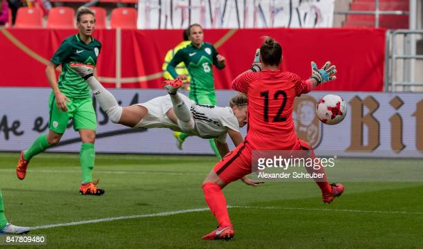 Svenja Huth of Germany scores the opening goal for her team during the 2019 FIFA women's World Championship qualifier match between Germany and...