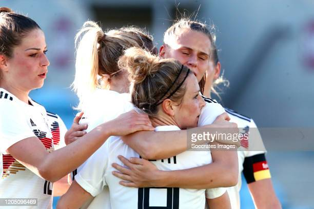 Svenja Huth of Germany Women celebrates goal during the Algarve Cup Women match between Germany v Sweden at the Estadio Algarve on March 4 2020 in...