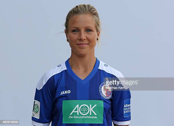 Svenja Huth poses during the official women's team presentation of 1FFC Turbine Potsdam at Luftschiffhafen on July 31 2015 in Potsdam Germany