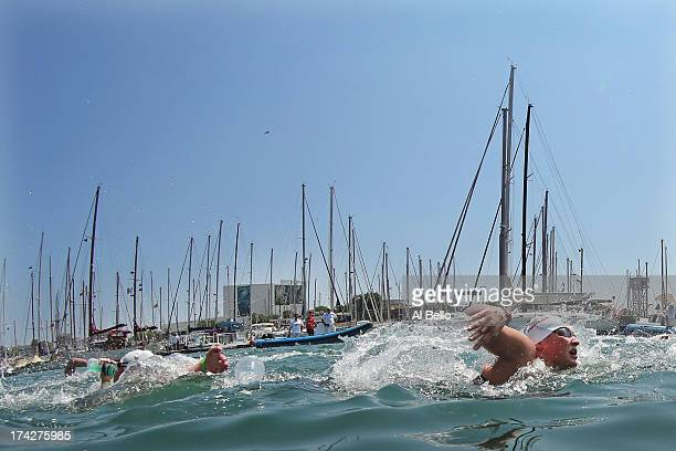 Svenja Theresa Zihsler of Germanyin action during the Open Water Swimming Women's 10k race on day four of the 15th FINA World Championships at Moll...