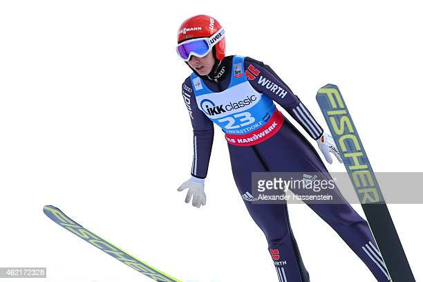 Svenja Wuerth of Germany competes during day two of the Women Ski Jumping World Cup event at SchattenbergSchanze Erdinger Arena on January 25 2015 in...