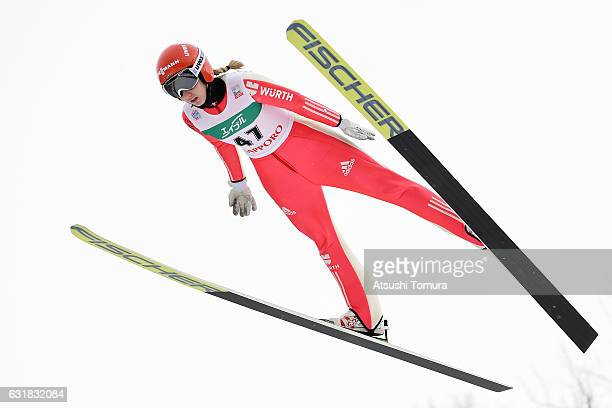 Svenja Wuerth of Germany competes in the Ladies HS 100 during the FIS Women's Ski Jumping World Cup Sapporo at the Miyanomori Ski Jump Stadium on...