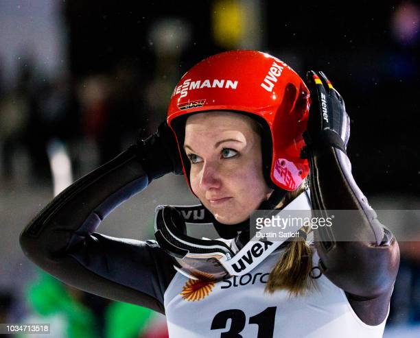 Svenja Wuerth of Germany competes in the Women's Ski Jumping HS100 during the FIS Nordic World Ski Championships on February 24 2017 in Lahti Finland