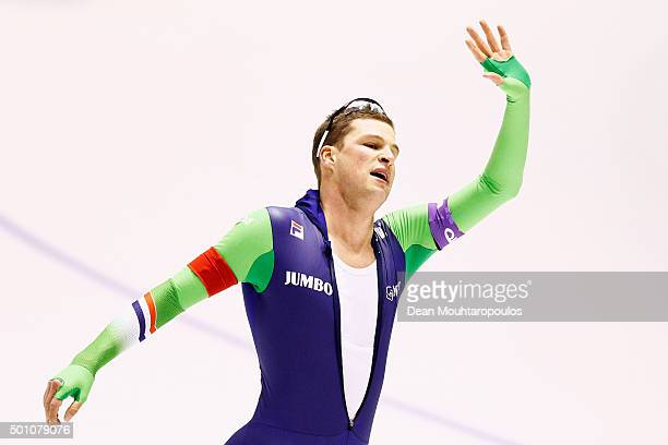 SvenKramer of Netherlands celebrates after he competes in the 5000m mens race during day two of the ISU World Cup Speed Skating held at Thialf Ice...