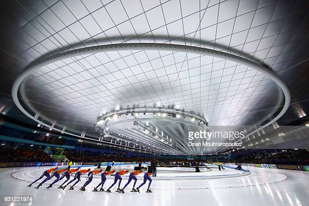 Sven Kramer of the Netherlands competes in and wins the 10000m Mens Allround Race on Day Three of the ISU European Speed Skating Championships held...