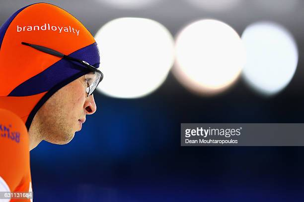 SvenKramer of the Netherlands gets ready to compete in the Allround 500m Mens Race on Day Two of the ISU European Speed Skating Championships held...
