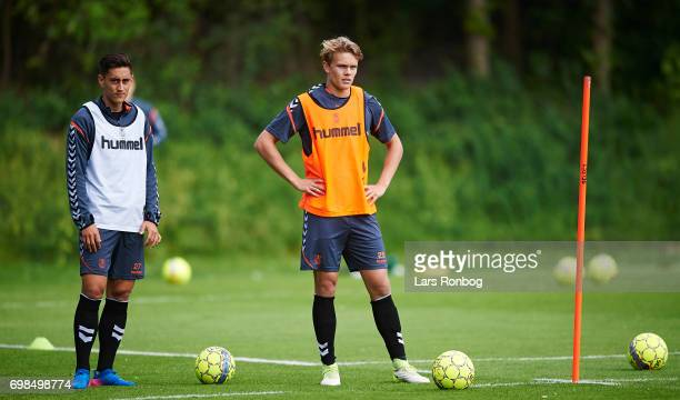 Svenn Crone and Gregers ArndalLauritzen of Brondby IF looks on during the Brondby IF training session at Brondby Stadion on June 20 2017 in Brondby...