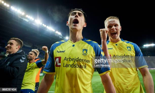 Svenn Crone and Hjortur Hermannsson of Brondby IF celebrate after the Danish Alka Superliga match between Brondby IF and Randers FC at Brondby...