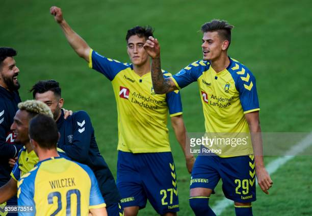 Svenn Crone and Jan Kliment of Brondby IF celebrate after the Danish Alka Superliga match between Brondby IF and AC Horsens at Brondby Stadion on...
