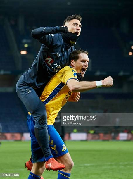 Svenn Crone of Brondby IF and Benedikt Rocker of Brondby IF celebrate after the Danish Alka Superliga match between Brondby IF and FC Nordsjalland at...