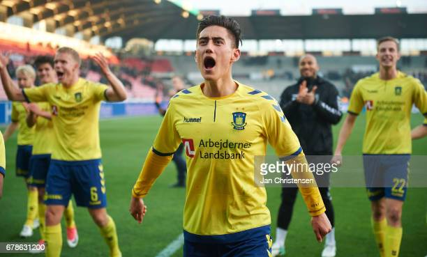 Svenn Crone of Brondby IF celebrate after the Danish Cup DBU Pokalen semifinal match between FC Midtjylland and Brondby IF at MCH Arena on May 04...