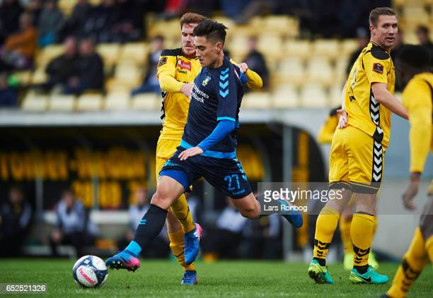 Svenn Crone of Brondby IF controls the ball during the Danish Alka Superliga match between AC Horsens and Brondby IF at Casa Arena Horsens on March...