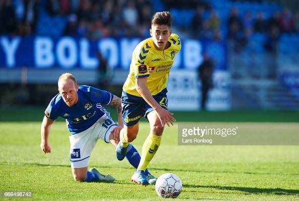 Svenn Crone of Brondby IF controls the ball during the Danish Alka Superliga match between Lyngby BK and Brondby IF at Lyngby Stadion on April 9 2017...