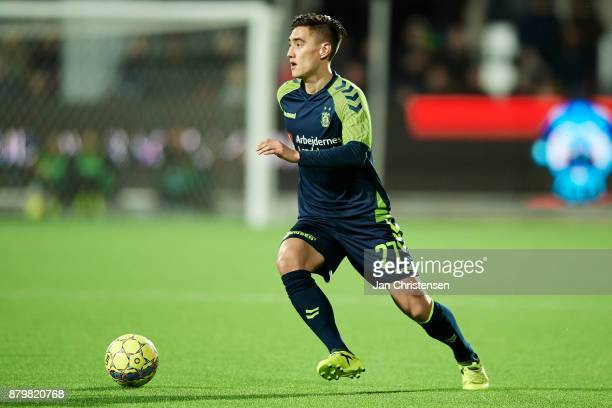 Svenn Crone of Brondby IF controls the ball during the Danish Alka Superliga match between Silkeborg IF and Brondby IF at JYSK Park on November 26...