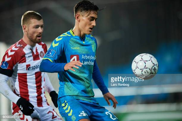 Svenn Crone of Brondby IF controls the ball during the Danish Alka Superliga match between AaB Aalborg and Brondby IF at Aalborg Portland Park on...