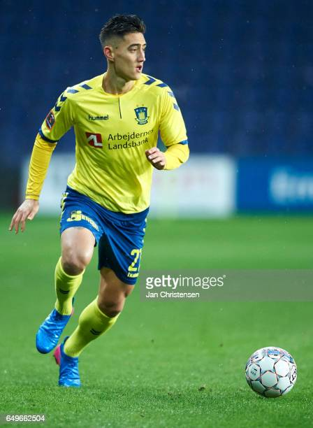Svenn Crone of Brondby IF controls the ball during the Danish Cup DBU Pokalen match between BK Marienlyst and Brondby IF at Brondby Stadion on March...
