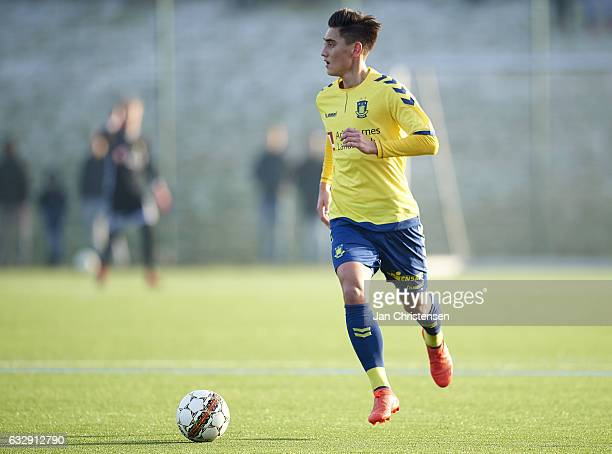 Svenn Crone of Brondby IF controls the ball during the preseason friendly match between Brondby IF and Roskilde FC at Brondby Stadion on January 28...