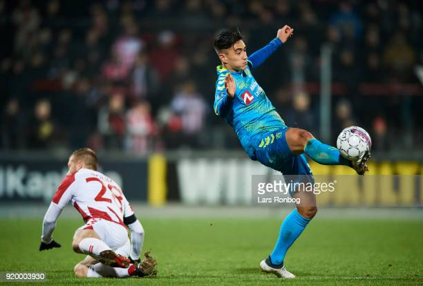 Svenn Crone of Brondby IF in action during the Danish Alka Superliga match between AaB Aalborg and Brondby IF at Aalborg Portland Park on February 18...