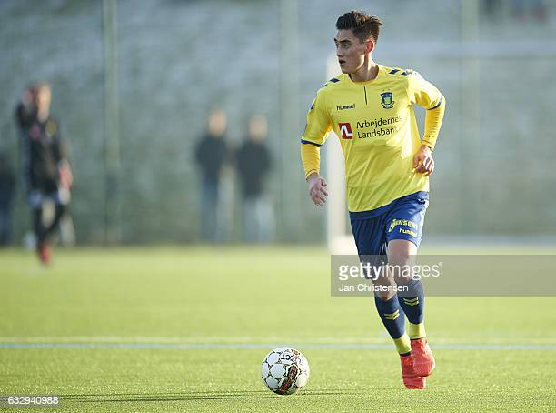 Svenn Crone of Brondby IF in action during the preseason friendly match between Brondby IF and Roskilde FC at Brondby Stadion on January 28 2017 in...