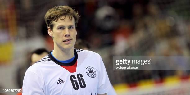 Sven-Soeren Christophersen of Germany reacts during the men's Handball World Championships quarter-final match Spain vs Germany in Saragossa, Spain,...
