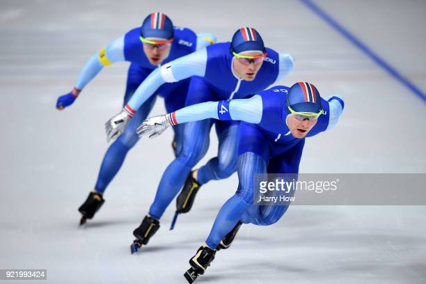 Sverre Lunde Pedersen Havard Bokko and Simen Spieler Nilsen of Norway compete during the Men's Team Pursuit Semifinal 2 Speed Skating on day 12 of...