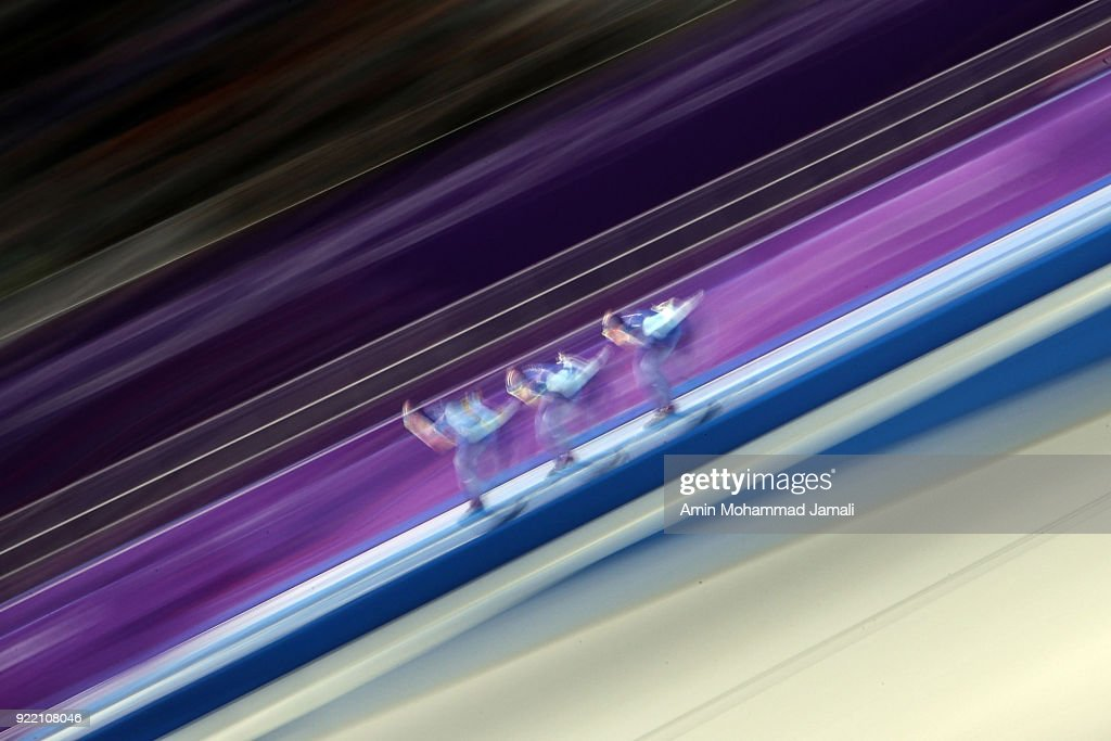 Sverre Lunde Pedersen, Havard Bokko and Simen Spieler Nilsen of Norway compete during the Speed Skating Men's Team Pursuit Final A against Korea on day 12 of the PyeongChang 2018 Winter Olympic Games at Gangneung Oval on February 21, 2018 in Gangneung, South Korea.