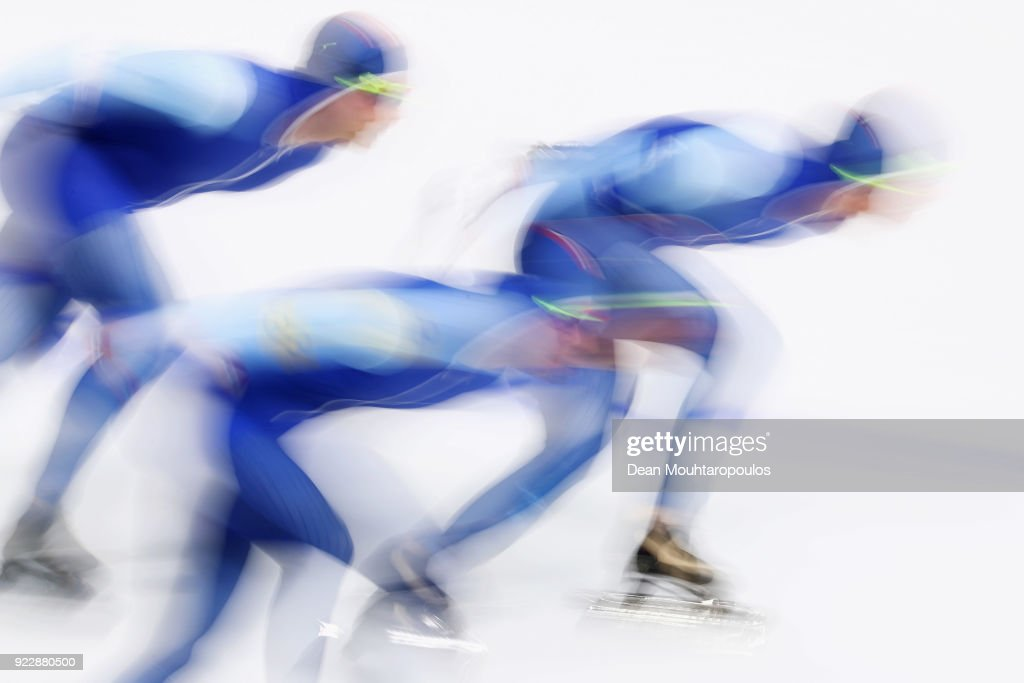 Sverre Lunde Pedersen, Havard Bokko and Simen Spieler Nilsen of Norway compete during the Men's Team Pursuit Semifinal 2 Speed Skating on day 12 of the PyeongChang 2018 Winter Olympic Games at Gangneung Oval on February 21, 2018 in Gangneung, South Korea.