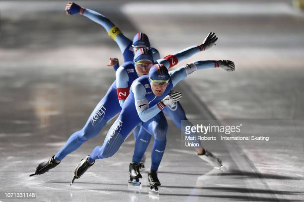 Sverre Lunde Pedersen Havard Bokko and Sindre Henriksen of Norway compete during the Men's Team Pursuit on day one of the ISU World Cup Speed Skating...