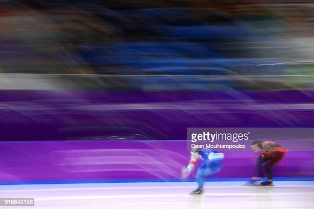 Sverre Lunde Pedersen of Norway competes against TedJan Bloemen of Canada during the Men's 5000m Speed Skating event on day two of the PyeongChang...