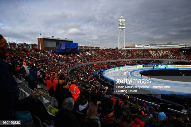 Sverre Lunde Pedersen of Norway competes in the 10000m Mens race during the World Allround Speed Skating Championships at the Olympic Stadium on...
