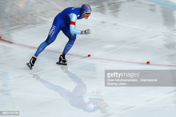 Sverre Lunde Pedersen of Norway competes in the 1500m Mens race during the World Allround Speed Skating Championships at the Olympic Stadium on March...
