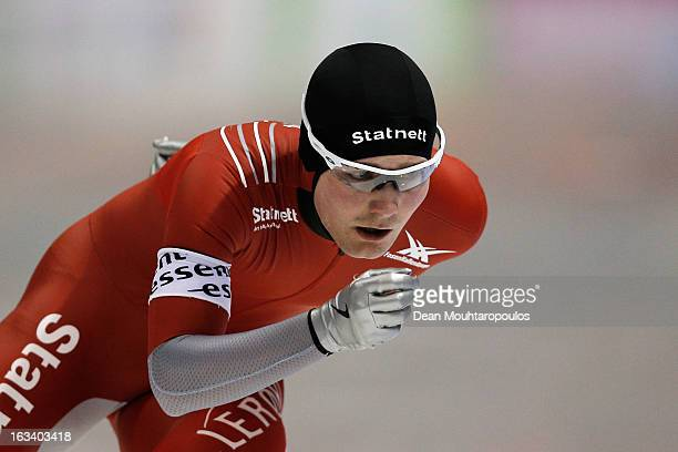 Sverre Lunde Pedersen of Norway competes in the 5000m Mens race on Day 2 of the Essent ISU World Cup Speed Skating Championships 2013 at Thialf...