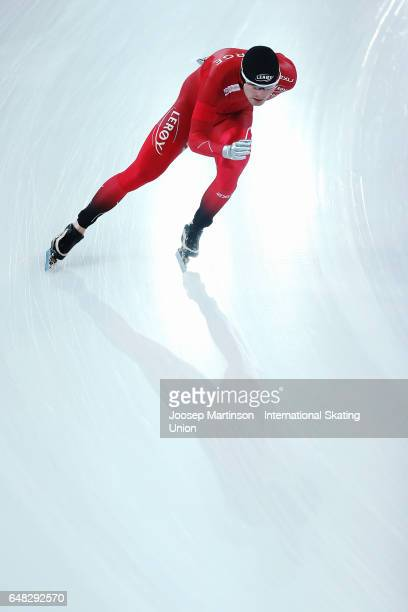 Sverre Lunde Pedersen of Norway competes in the Men's 10000m during day two of the World Allround Speed Skating Championships at Hamar Olympic Hall...